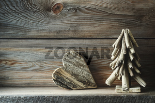 Christmas decorations on wooden shelf