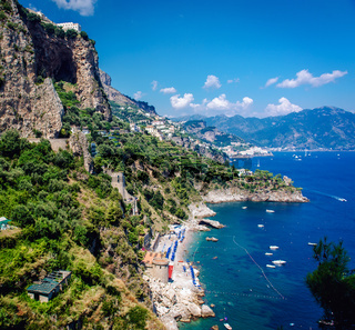 Amalfi Coast. Stunning landscape with hills and Mediterranean sea. Italy