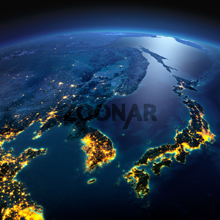 Detailed Earth. Korea and Japan on a moonlit night