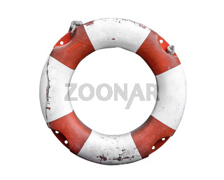 Isolated Rustic Lifebuoy Or Life Preserver