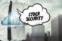 Cyber security text on cloud computing theme with businessman