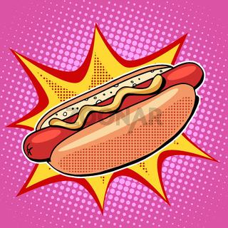 Hot dog fast food vector pop art style