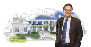 Man Wearing Neck Tie Over House Drawing and Photo