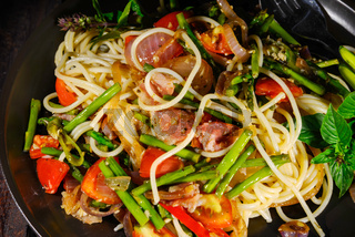 Spaghetti asparagus and bacon