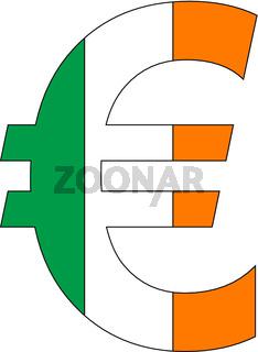 euro with flag of ireland