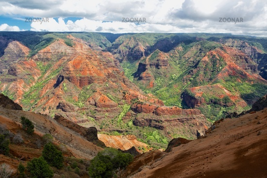 waimea canyon at kaui island hawaii
