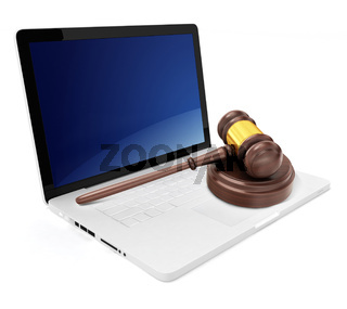 3d laptop with gavel