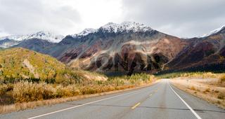 Highway Leads Through Peaks Alaska Range Fall Autumn Season