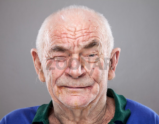 Closeup portrait of an elderly man
