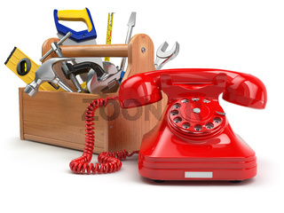 Support or service concept. Toolbox with telephone on white isolated background.