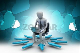 3d man working on laptop