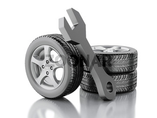 3d wheel car and wrench
