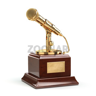 Music or journalism award concept. Gold microphone isolated on white.