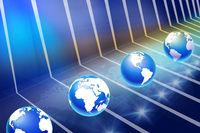 Modern digital platform with earth globes