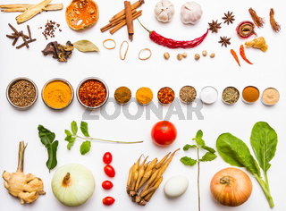 Fresh vegetables and other healthy foods on white background.