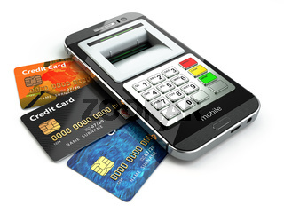 Mobile banking concept. Smartphone as ATM and credit cards.