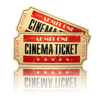 Retro cinema tickets isolated on white.