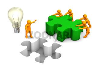 Manikins Green Puzzle Teamwork Bulb