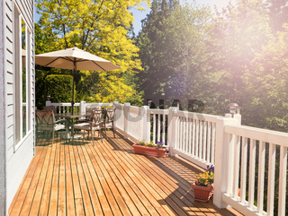 Bright daylight falling on home outdoor deck