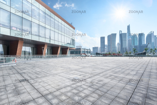 empty ground front of modern building