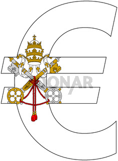 euro with flag of vatican city
