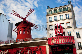 Moulin Rouge cabaret. Paris, France.