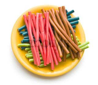 Sweet gummy sticks