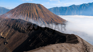 Top of sulfur Volcano crater Bromo in Java Indonesia