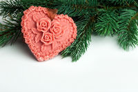 Heart with fir-tree on white