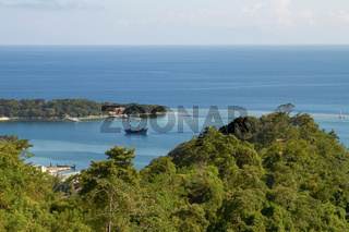 View of a Bay and laguna with a boat in Roatan in Honduras