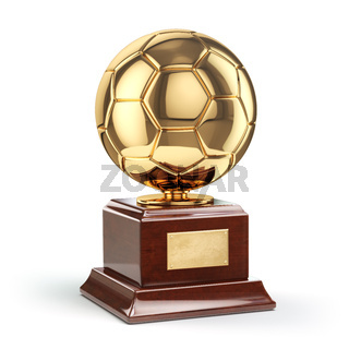 Football or soccer award. Golden trophy cup.