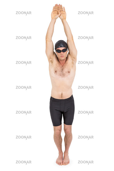 Swimmer preparing to dive