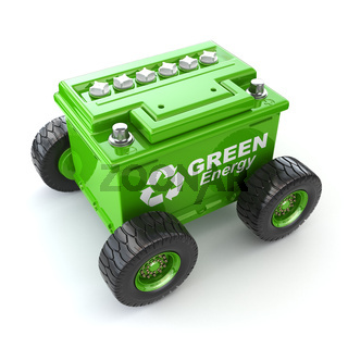 Accumilator or car battery on the wheel. Green energy concept.
