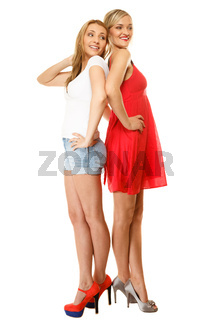 Two sexy fashion women in summer clothes