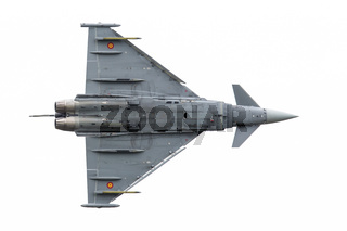 LEEUWARDEN, THE NETHERLANDS - JUNE 10: Spanish Air Force Eurofighter Typhoon flying during the Dutch Air Force Open House. June 10, 2016 in Leeuwarden, The Netherlands