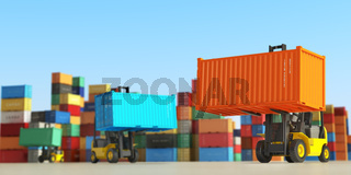 Forklift trucks with cargo containers in storage area. Delivery  or shipping background concept.