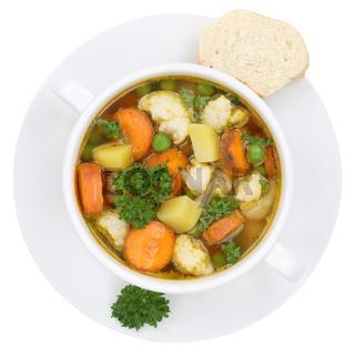 Gemüsesuppe Gemüse Suppe in Suppentasse Freisteller von oben