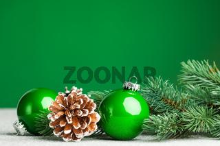 Christmas ball with fir-tree and pinecone