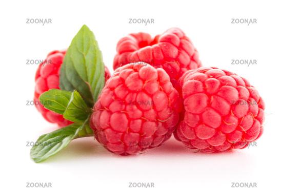 Raspberries with leaves