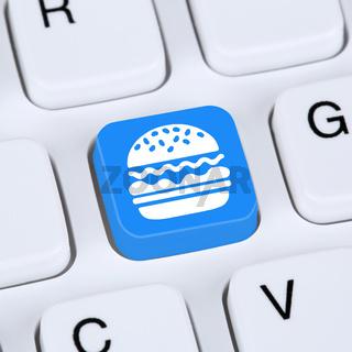 Computer Konzept Hamburger Cheeseburger Fast Food essen online bestellen und liefern