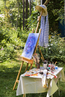 Malerei im Garten, painting in the garden