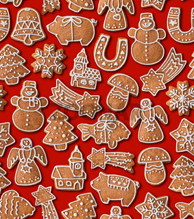 Seamless background with Christmas gingerbread cookies