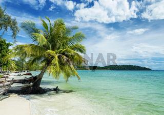 quiet empty paradise beach in koh rong near sihanoukville cambodia