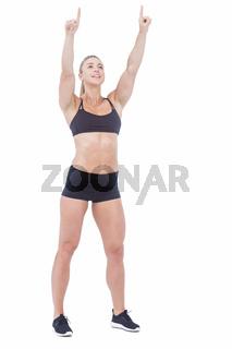 Female athlete raising fingers