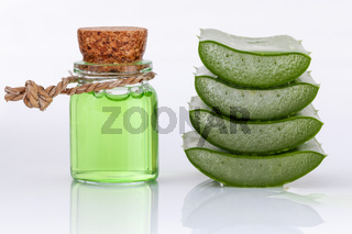 Aloe Vera slice natural spas ingredients for skin care isolated on a white background.