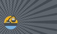 Business card Excavator Digger Handling House Circle Retro