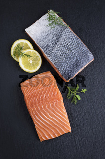 Salmon Filet on a Slab of Slate
