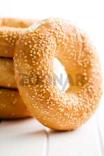 tasty bagel with sesame seed