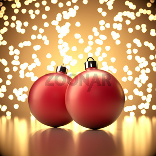 Christmas balls on abstract gold background