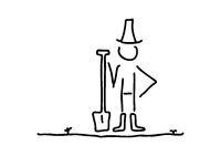 Stolzer Gaertner in Garten mit Spaten Schaufel